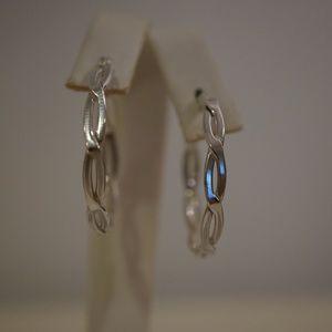 .925 Sterling Silver 30mm Fancy Hoop Earrings